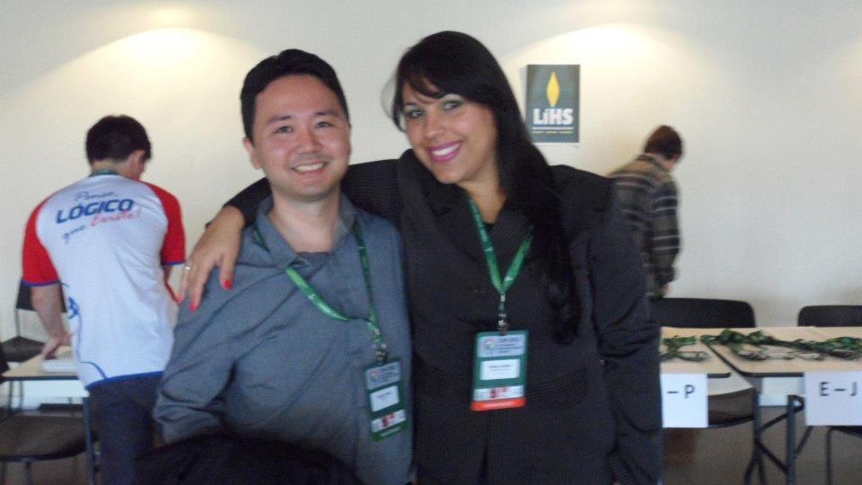 No Congresso Humanista 2012, com a mestre de cerimônias Shirley Galdino