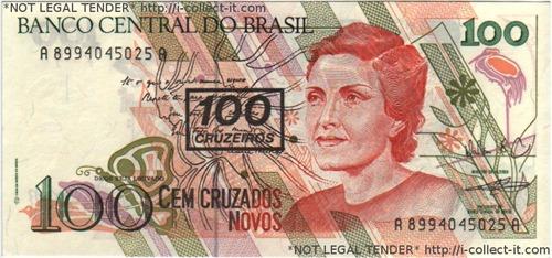 Brazil 100 Cruzeiro on 100 Cruzado Novo 1990.300dpi