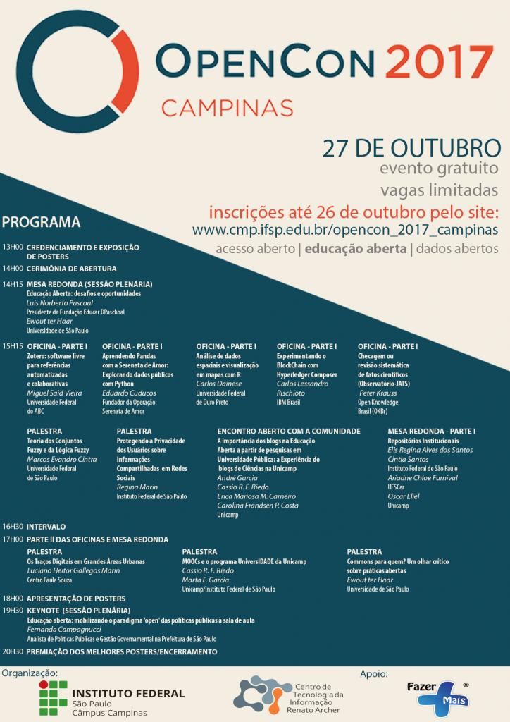 Movimentos abertos na OpenCon 2017-Campinas