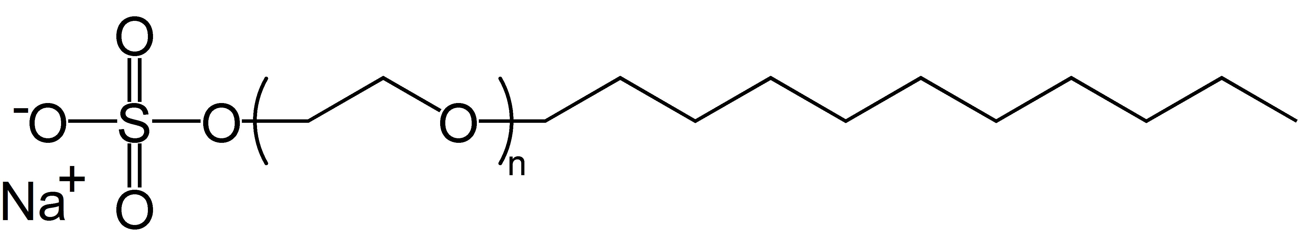 Lauril Éter Sulfato de Sódio, um surfactante de cadeia longa e simples. Portanto, biodegradável.