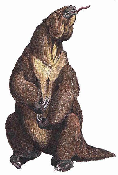 Megatherium americanum, uma das maiores preguiças terrestres que já existiram.