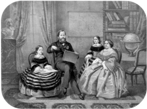 A família imperial na biblioteca do Imperador, em litografia de Sisson de 1860. Os quatro membros da família foram representados segurando um livro ou objeto de estudo. Arquivo do Museu Imperial. Crédito: Artigo de C. Filgueiras, Química Nova