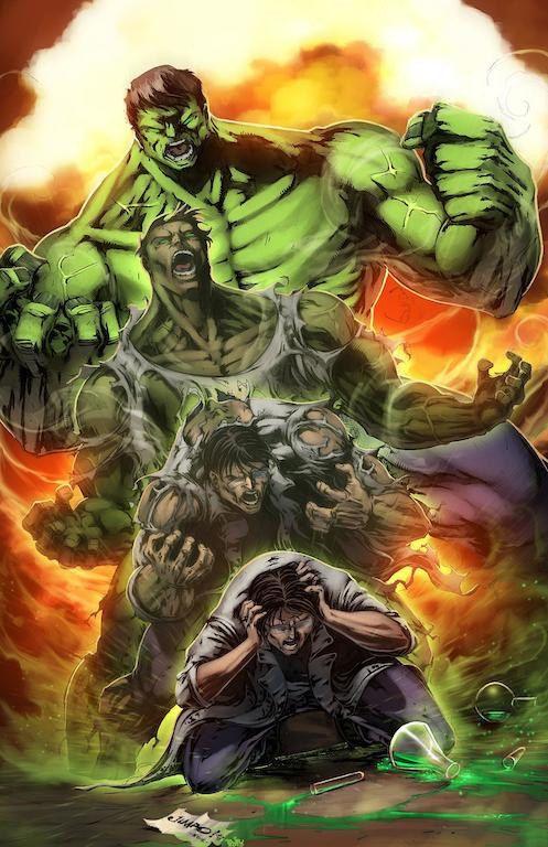 FanArt incrível da transformação Banner-Hulk-Banner, publicada no pinterest de kot war