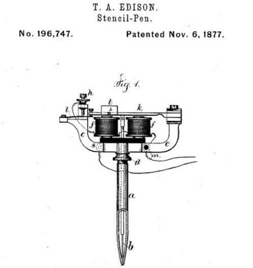 Tecnologia da caneta elétrica de Thomas Edison.