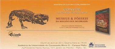 """Lançamento do Livro """"Museus e Fósseis da região sul do Brasil"""""""