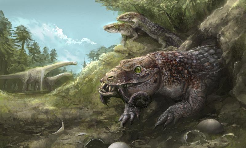 Yacarerani, um tipo de crocodilo extinto com hábitos terrestres que viveu no período dos dinossauros! Arte de Rodrigo Vega. Visite o portifolio: http://iririv.deviantart.com/
