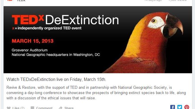 Livestream do Simpósio sobre Desextinção – Assista aqui: Início 9h