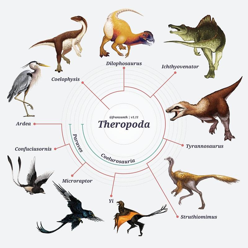 Dinossauros terópodes. Arte de Franz Anthony.