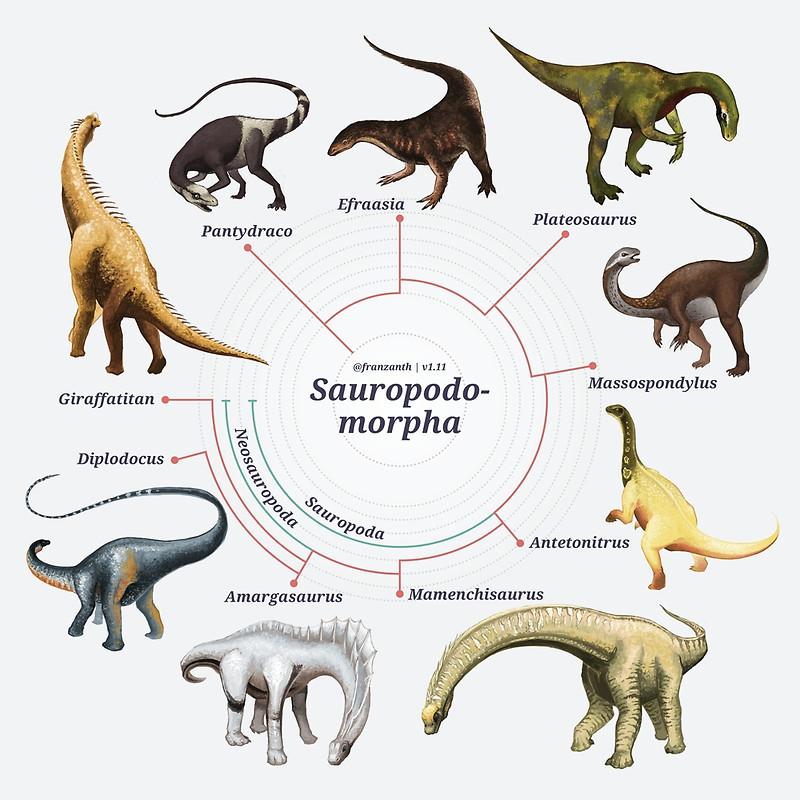Dinossauros sauropodomorfos. Arte de Franz Anthony.