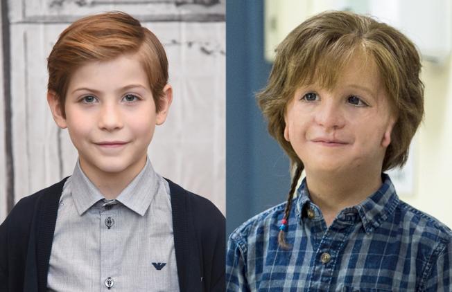 Dois rostos lado a lado do ator Jacob Tremblay. Na imagem à esquerda, o rosto do ator. Na imagem da direita, a imagem do personagem, com as maquiagens que fizeram com que parecesse ser portador da Síndrome. #ParaCegoVer