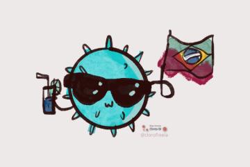 """Coronavírus estilizado de óculos escuro, sorrindo, com uma bebida em uma """"mão"""" e a bandeira do brasil suja de sangue na outra """"mão"""""""