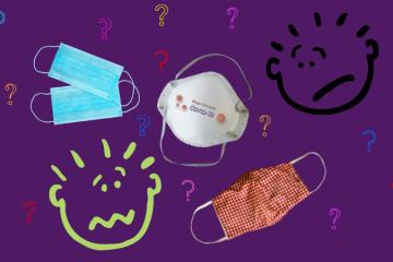 imagem com 3 tipos de máscara: cirúrgica, PFF2 e máscara de pano, situadas no centro da imagem. Ao alto e direita, um rosto rabiscado com cara de triste e abaixo à esquerda um rosto rabiscado com cara de confuso. Vários pontos de interrogação ao redor dos rostos e máscaras