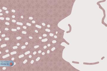 Desenho do rosto de um homem em perfil espirrando com as gotículas saindo da boca dele e se espalhando no ar.