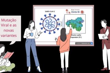 Quatro pessoas debatem as mutações virais e a formação de novas variantes, há um quadro ao fundo com o coronavírus e destaque da proteína Spike