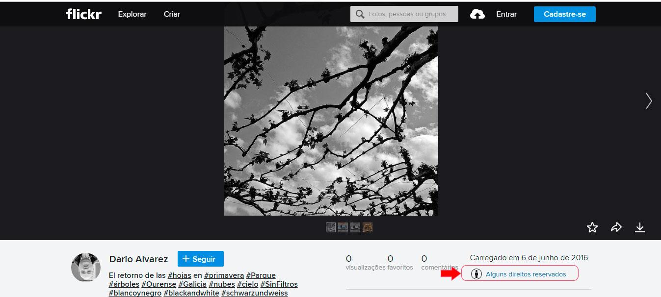 Muitas vezes os detalhes sobre as licenças de uso em CC de uma imagem são disponibilizadas pelo autor.