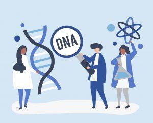 Caricatura de cientistas segurando uma lupa e olhando para uma sequência de DNA