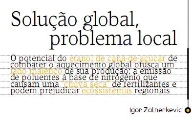 Etanol de cana-de-açúcar: Solução global (?), problema local