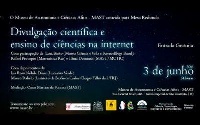 Mesa-redonda sobre divulgação científica na internet (apresentação+vídeo)