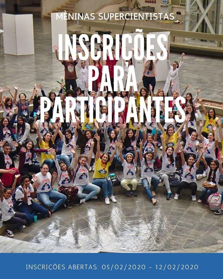 """Banner oficial do Projeto. Nele há a imagem de um grupo de mulheres dentro do saguão de um dos institutos da Unicamp, com os braços levantados e sorrindo para a câmera. Acima, encontra-se os dizeres """"Meninas Supercientistas. Inscrições para participantes."""""""