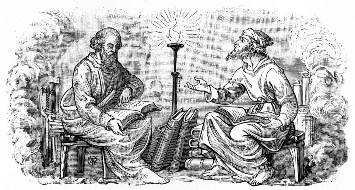 Dois homens sentados em frente um ao outro em gravura antiga