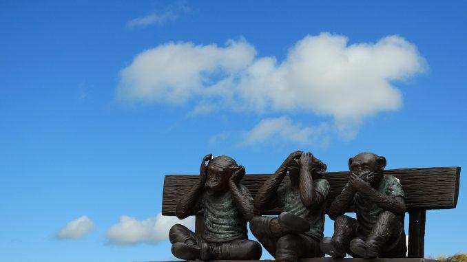 Os três macacos sábios. Três macacos em que um não vê, um não fala e o outro não escuta. #pracegover