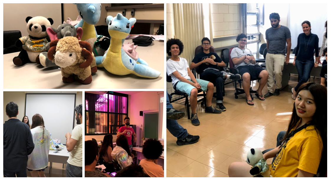 Treinamento psicológico / palestra do professor Aquiles sobre sintaxe / os mascotes das últimas Olimpíadas Internacionais se juntam ao pokemon Lapras, mascote do laboratório de Psicolinguística e Aquisição de Linguagem LAPROS (Language Acquisition, Processing and Syntax Lab) #PraCegoVer