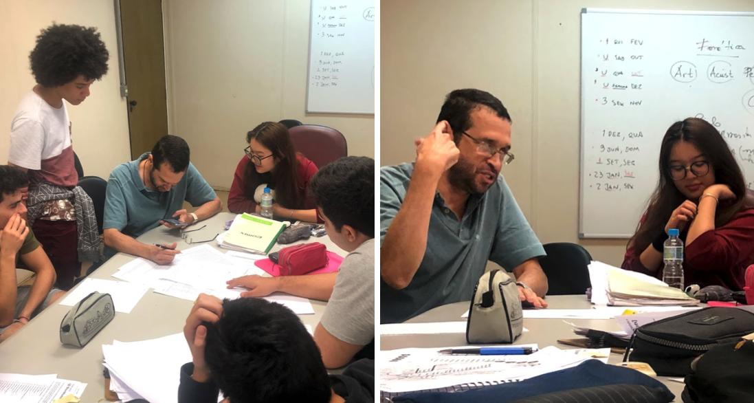Professor Plinio Barbosa conversa sobre fonética com os alunos das equipes brasileiras da Olimpíada Internacional de Linguística no IEL #PraCegoVer