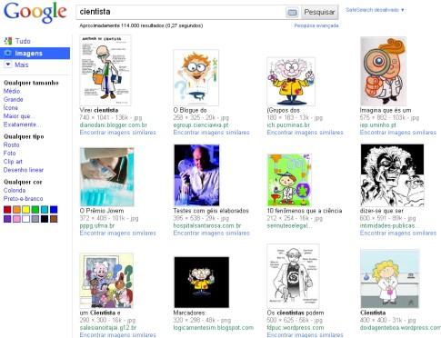 captura de tela do google imagens em procura por cientista