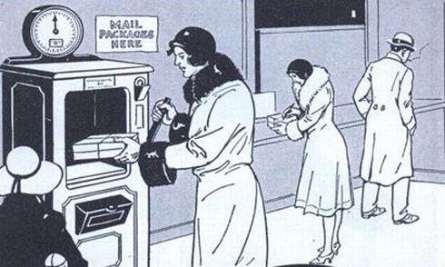 máquina para envio de encomendas e cartas
