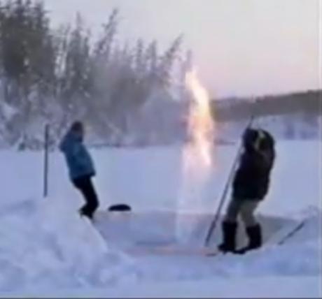 metano preso em lago siberiano