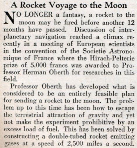 foguete em viagem para Lua em 1929