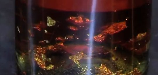 folhas de ouro flutuando dentro de uma garrafa de cerveja
