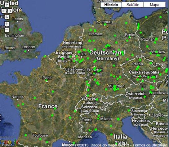 Google maps com pontos onde os sensores estão localizados