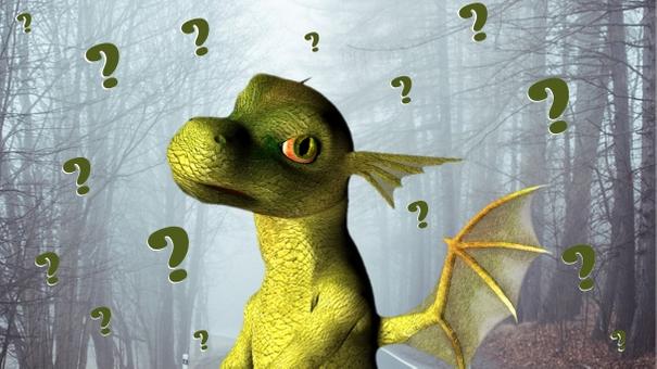 Na imagem é possível ver um dragão verde com expressão de dúvida e várias interrogações ao seu redor. No fundo, uma paisagem de floresta com neblina.