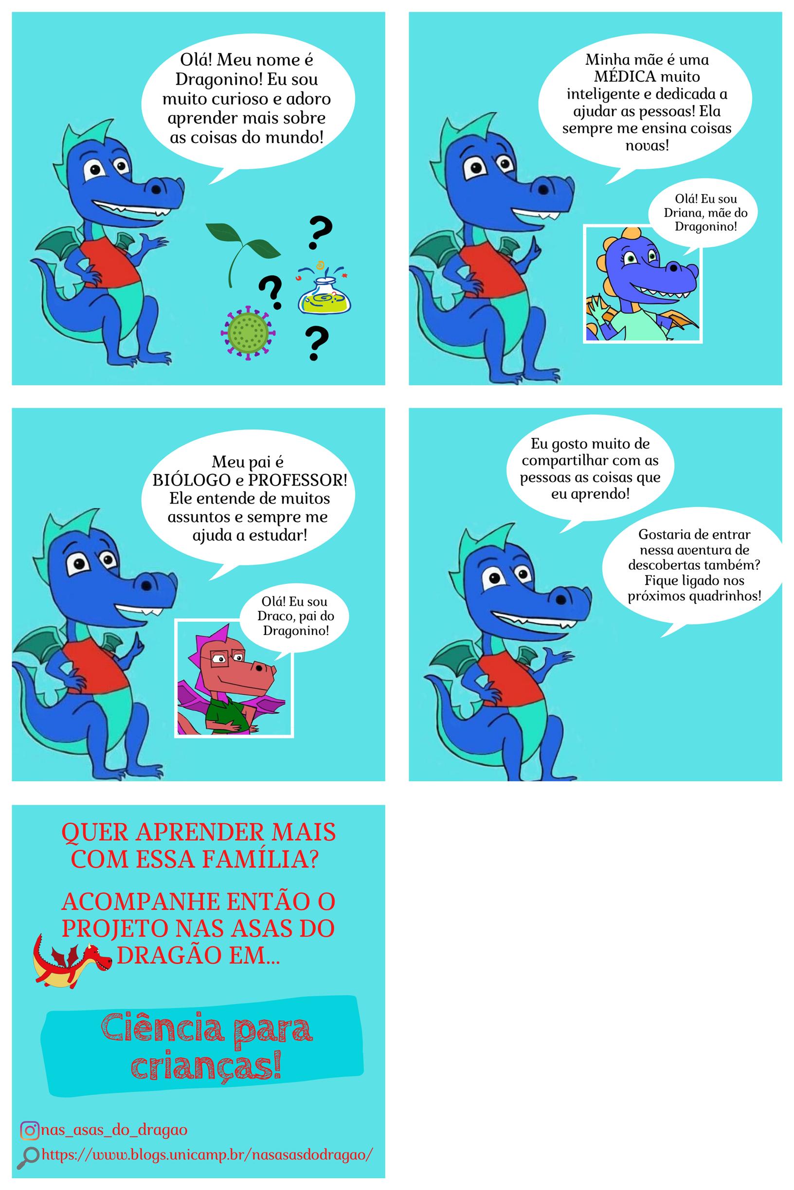 Quadrinhos de apresentação do Dragonino e sua família para iniciar a série Ciência para crianças!