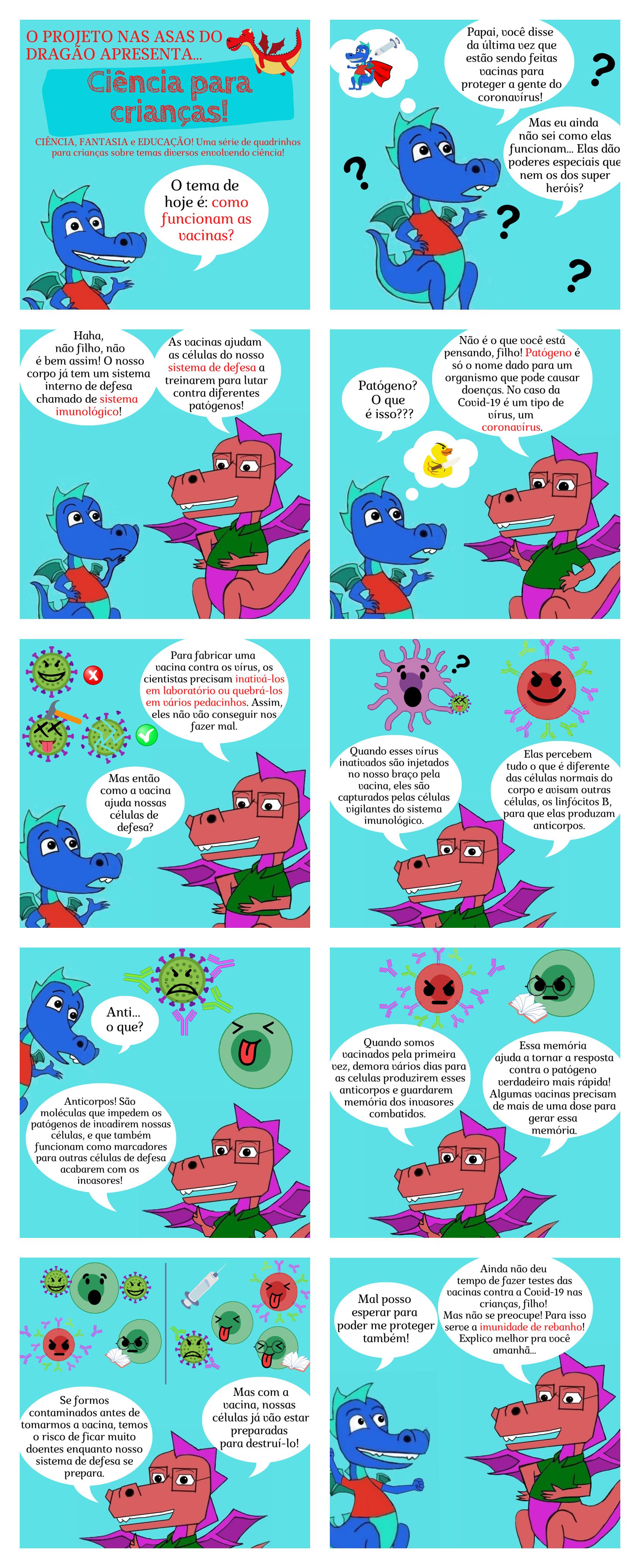 """Quadrinhos da série """"Ciência para Crianças!"""", com o tema """"Como funcionam as vacinas""""."""