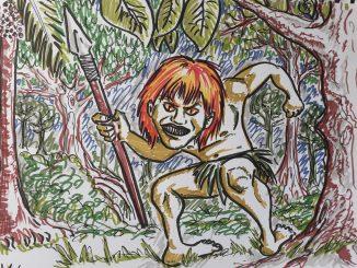 Desenho do Curupira no meio da floresta