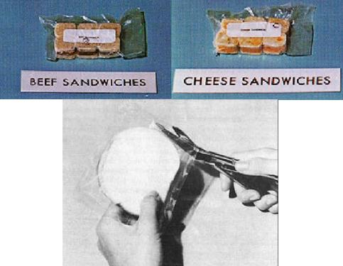 """Mini sanduíches de """"uma mordida"""" (em cima) e pão fatiado (em baixo). - Apollo 11"""