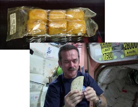 Pãezinhos russos (acima) e o Astronauta Chris Hadfield com uma tortilha (abaixo).