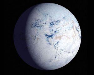 Figura 1: Snowball Earth (Terra Bola de Neve) – perspectiva artística de como a Terra ficou coberta por gelo no Pré-Cambriano. Fonte: desconhecido.