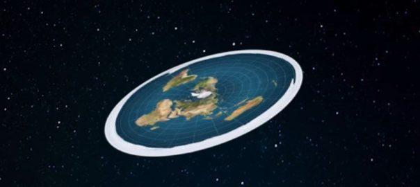 A visão da terra como um disco achatado girando no espaço