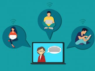 o desenho traz uma tela ao centro, com uma docente falando e vários balões de diálogo, saindo do computador, com pessoas dentro, representando as conversas atravessadas pela tecnologia no ensino remoto