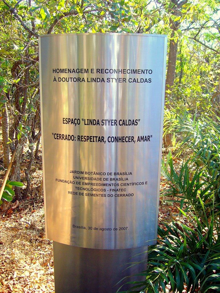 Espaço dedicada à minha mãe no Jardim Botânico de Brasília. Arquivo Pessoal