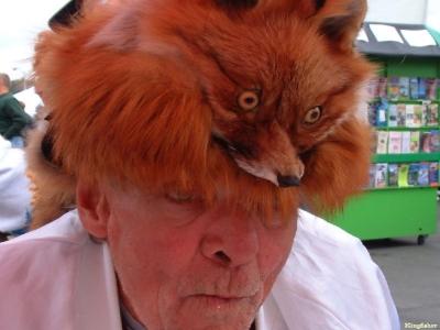 velhote bizarro com chapéu de raposa