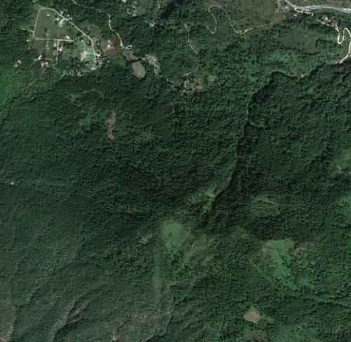 Vista do espaço, plantação de tabaco a 15 quilômetros sudeste de Tegucigalpa, Honduras.