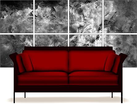 Um painel na sala com imagens do Hubble?